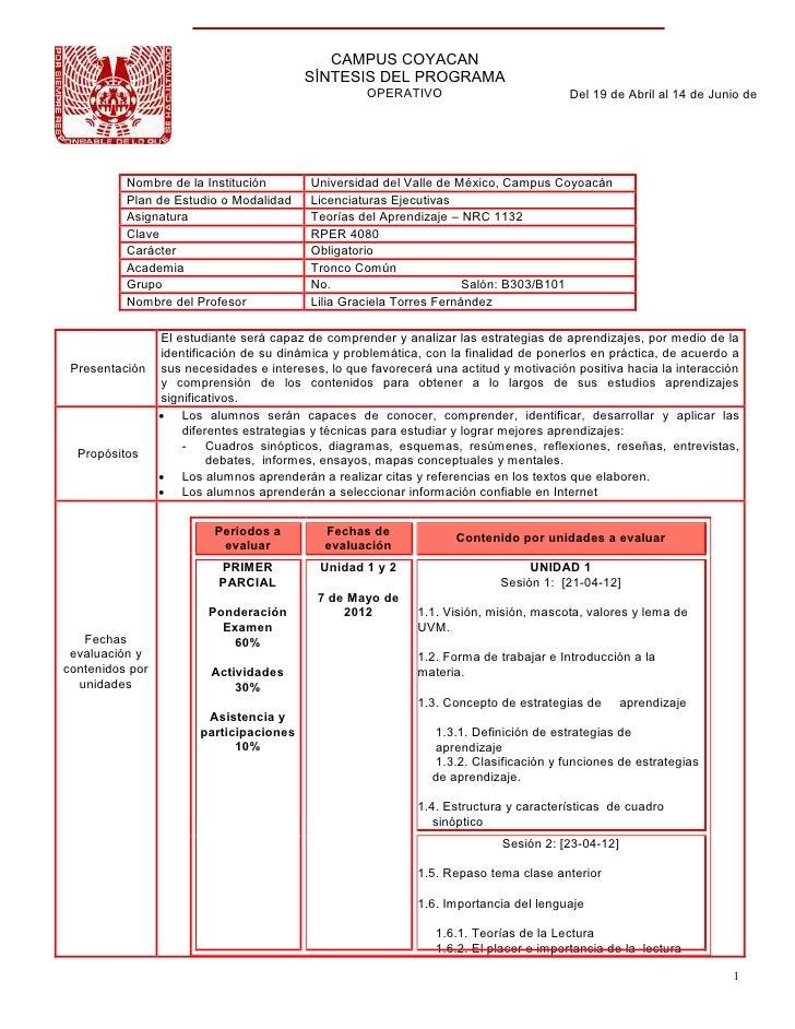 CAMPUS COYACAN                                         SÍNTESIS DEL PROGRAMA                                              ...