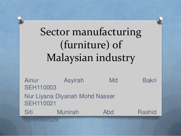 Sector manufacturing         (furniture) of      Malaysian industryAinur         Asyirah       Md    BakriSEH110003Nur Liy...