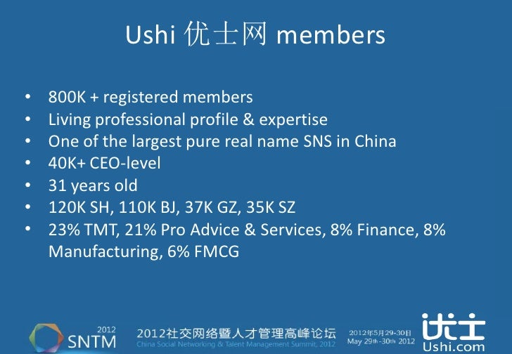 Ushi 优士网 members•   800K + registered members•   Living professional profile & expertise•   One of the largest pure real n...