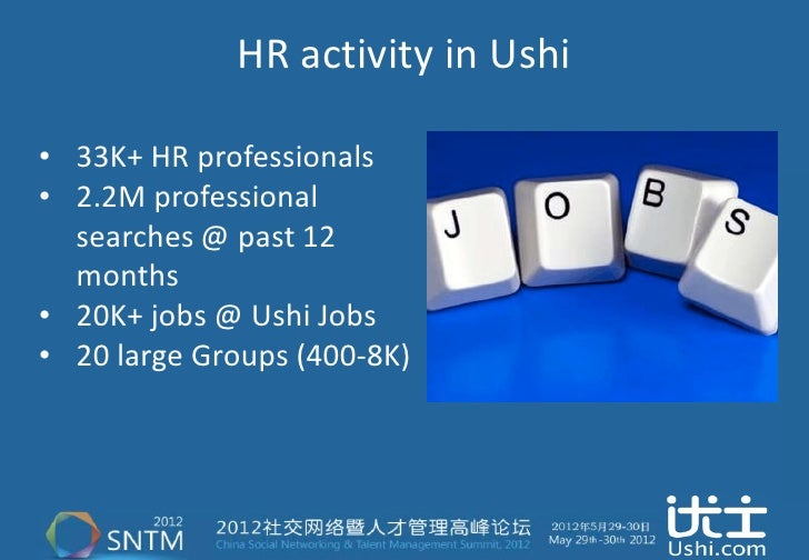 HR activity in Ushi• 33K+ HR professionals• 2.2M professional  searches @ past 12  months• 20K+ jobs @ Ushi Jobs• 20 large...