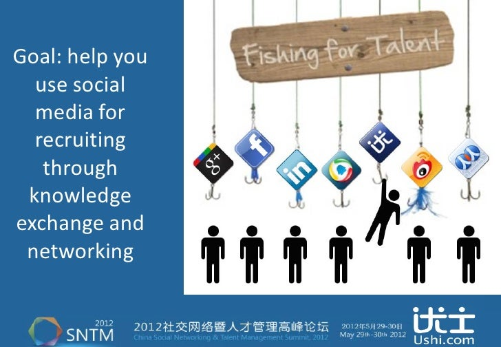 Goal: help you  use social  media for  recruiting   through knowledgeexchange and networking