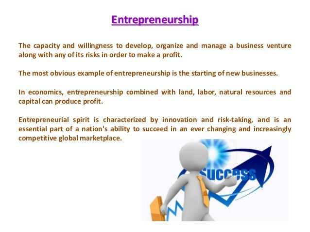 concept of entrepreneur and entrepreneurship