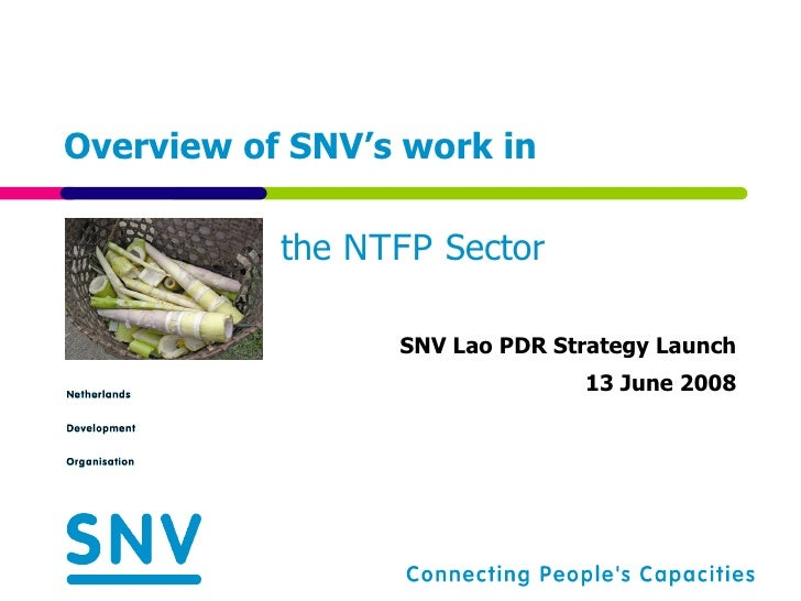 Overview of SNV's work in  SNV Lao PDR Strategy Launch 13 June 2008 the  NTFP  Sector