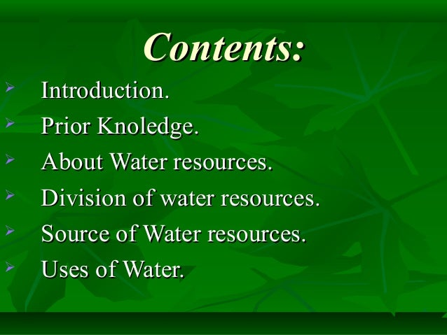 resources of water ppt Friday, 11/10—groundwater pollution monday, 11/13--wetlands supply of  water resources fig 15-2 p 307 freshwater readily accessible freshwater  biota.
