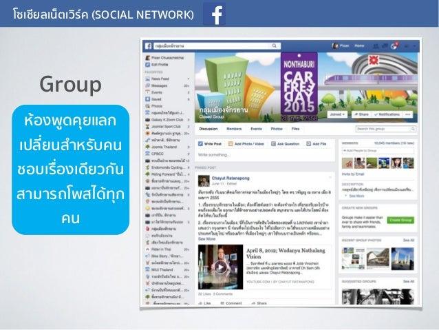 โซเชียลเน็ตเวิร์ค (SOCIAL NETWORK) ห้องพูดคุยแลก เปลี่ยนสำหรับคน ชอบเรื่องเดียวกัน สามารถโพสได้ทุก คน Group