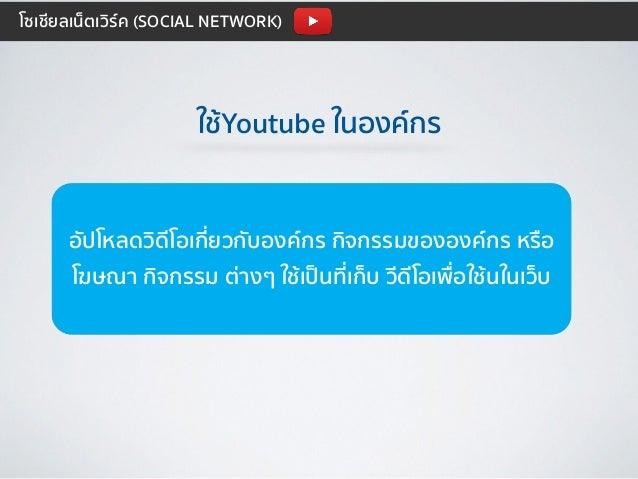 ใช้Youtube ในองค์กร อัปโหลดวิดีโอเกี่ยวกับองค์กร กิจกรรมขององค์กร หรือ โฆษณา กิจกรรม ต่างๆ ใช้เป็นที่เก็บ วีดีโอเพื่อใช้นใ...