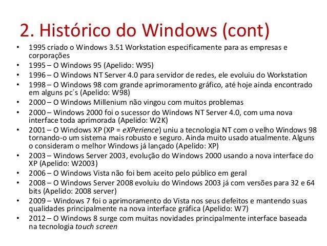2. Histórico do Windows (cont) • 1995 criado o Windows 3.51 Workstation especificamente para as empresas e corporações • 1...