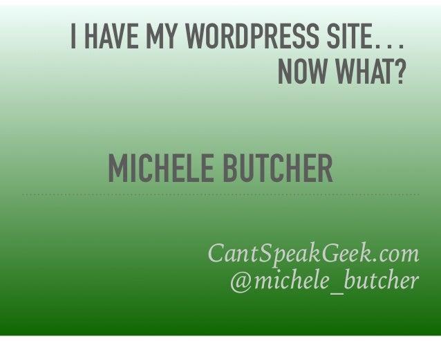 MICHELE BUTCHER CantSpeakGeek.com @michele_butcher I HAVE MY WORDPRESS SITE… NOW WHAT?