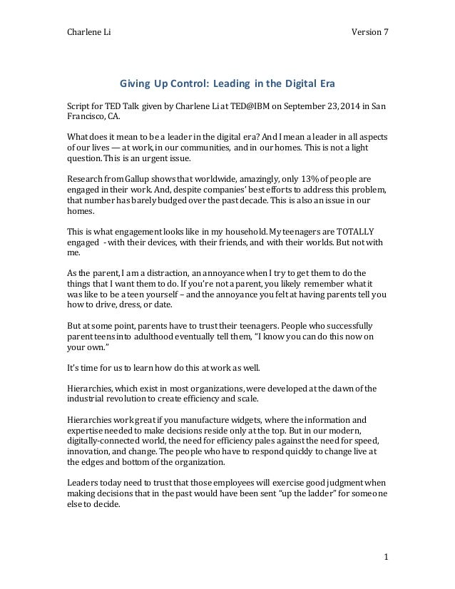 Charlene Li Version 7  1  Giving Up Control: Leading in the Digital Era  Script for TED Talk given by Charlene Li at TED@I...
