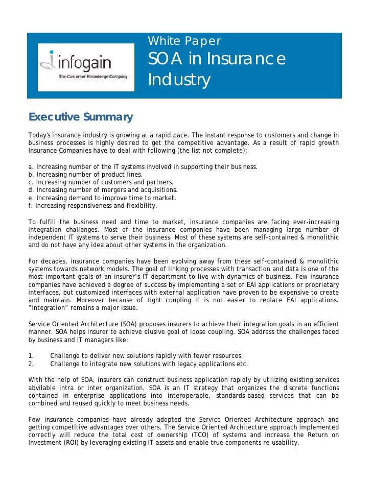 White Paper                                        SOA in Insurance                                        Industry  Execu...
