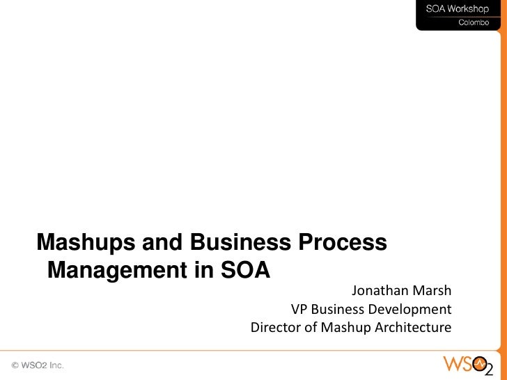 Mashups and Business Process  Management in SOA                                  Jonathan Marsh                        VP ...