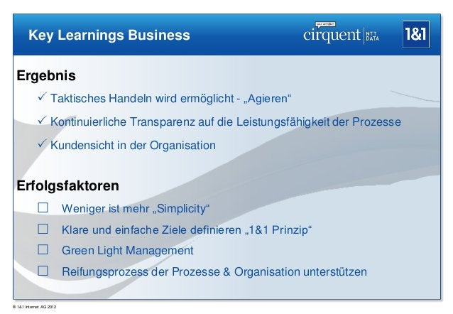 """Key Learnings Business Ergebnis             Taktisches Handeln wird ermöglicht - """"Agieren""""             Kontinuierliche T..."""