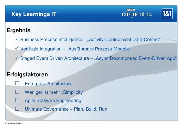 """Key Learnings IT Ergebnis             Business Process Intelligence – """"Activity-Centric nicht Data-Centric""""             ..."""