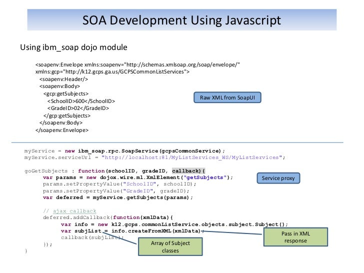 Soa development using javascript