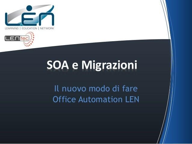 SOA e Migrazioni Il nuovo modo di fare Office Automation LEN