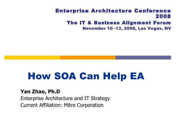 How SOA Can Help EA  Yan Zhao, Ph.D Enterprise Architecture and IT Strategy Current Affiliation: Mitre Corporation Enterpr...