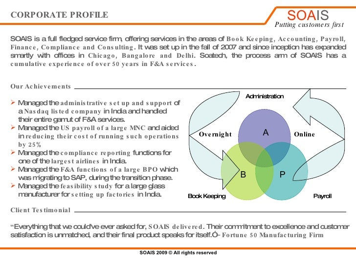 CORPORATE PROFILE SOATECH , the process arm of SOAIS is a full fledged service firm, offering services in the areas of  Bo...