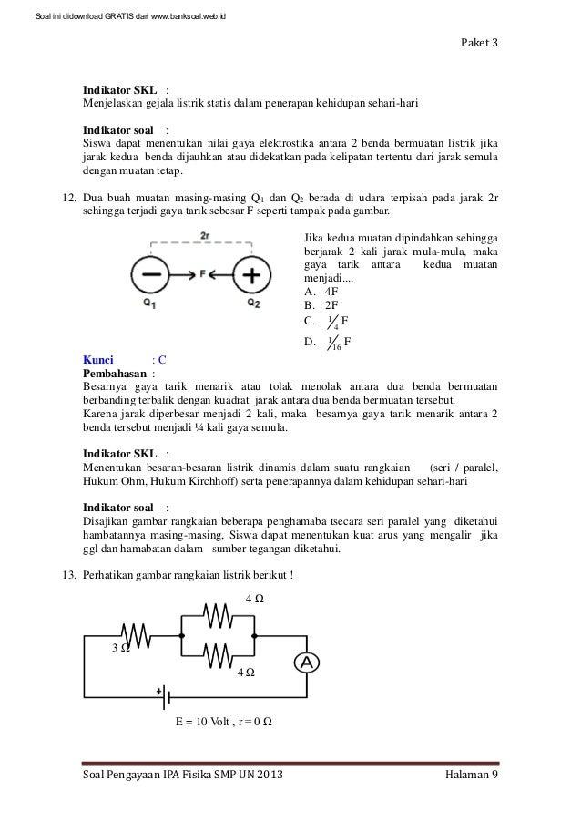 Soal Dan Pembahasan Ujian Nasional Fisika Smp 2013 Paket 3