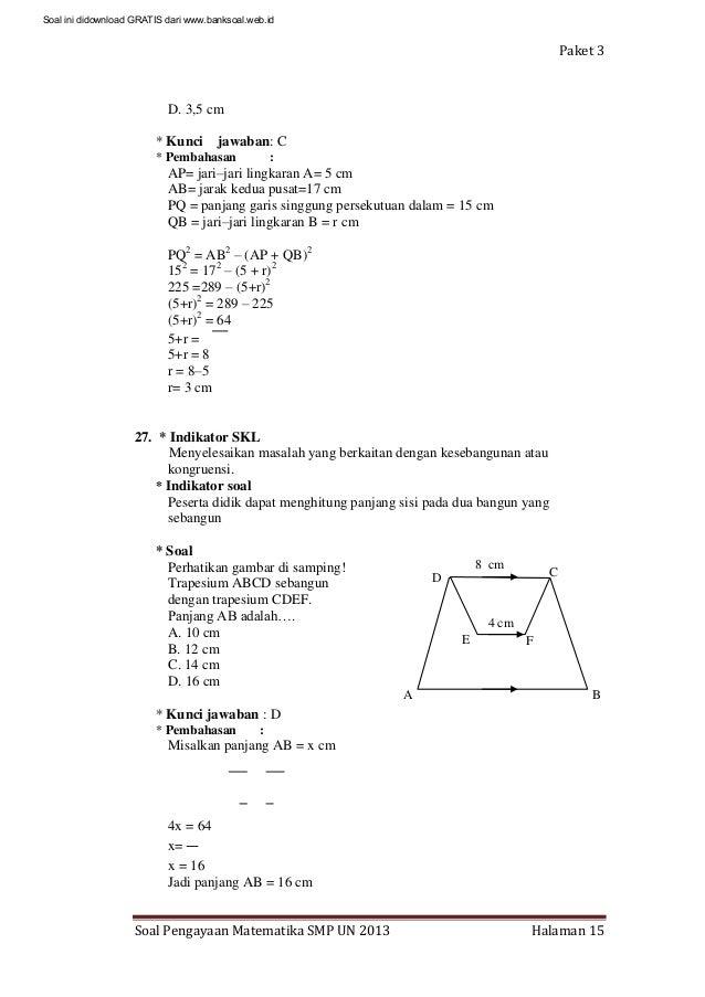 Soal Dan Pembahasan Ujian Nasional Matematika Smp