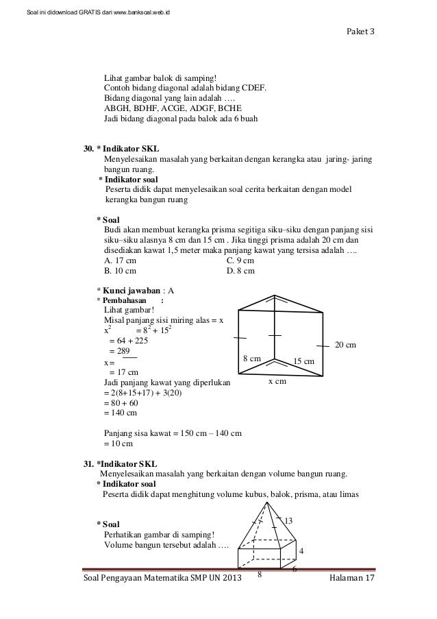 Soal dan pembahasan ujian nasional matematika smp 2013 paket 3