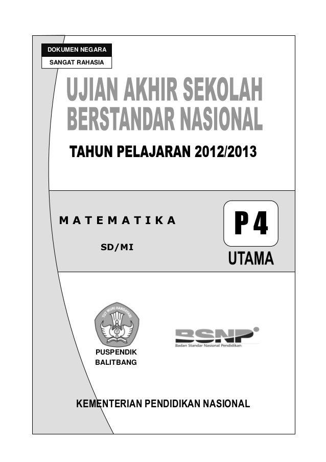 Soal Un Dan Kunci Jawaban Matematika Sd 2012 2013