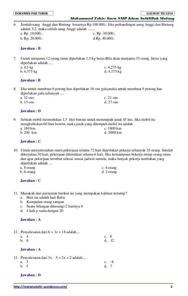 Soal Dan Kunci Jawaban Uas Matematika Smp Semester 2 Kelas 7 Tahun 20