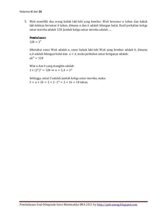 Soal Dan Pembahasan Osn Guru Mat Sma 2011