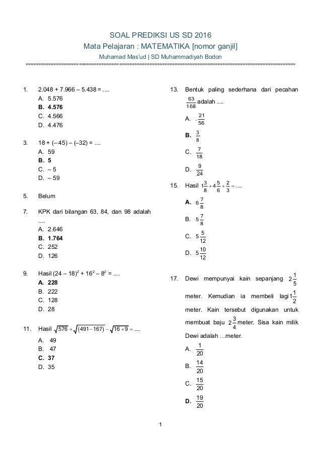 Soal Matematika Prediksi Us Sd 2016 Masud