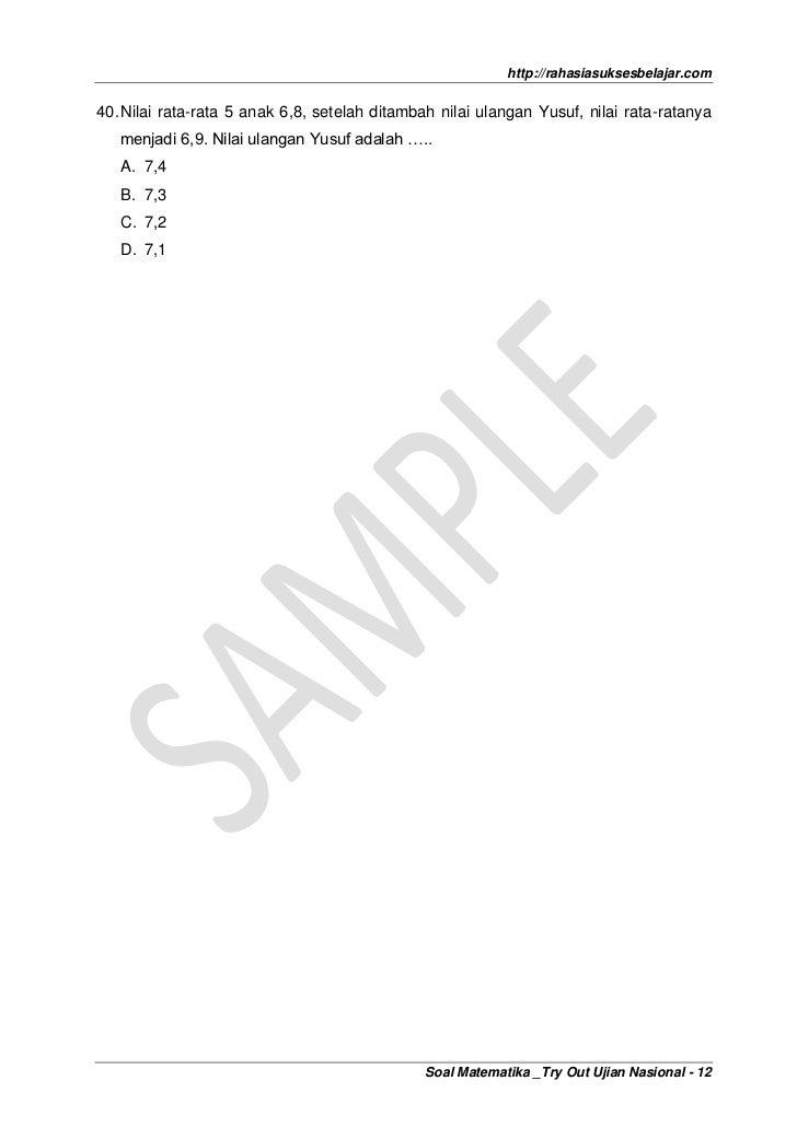 Soal Matematika Un Sd 2012