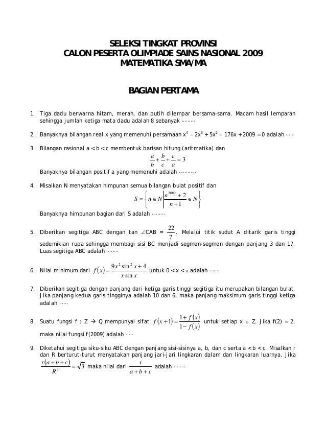 Contoh Soal Lomba Matematika Tk B