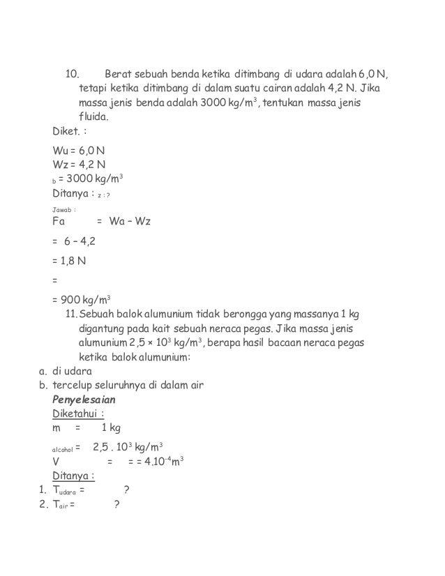 soal soal fisika 8 638 - Berat Jenis Raksa Dalam Satuan Si