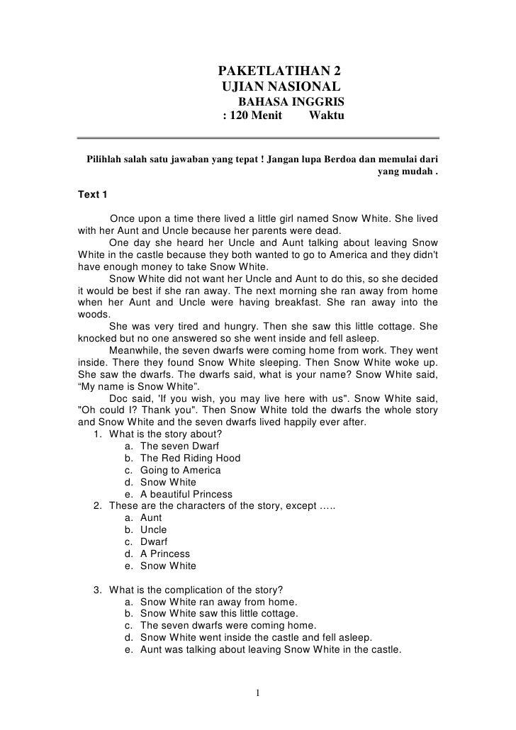 Soal Un Bahasa Inggris Xii Lat 2