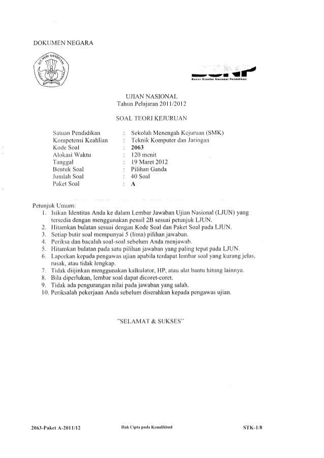 Soal Un Teori Kejuruan Tkj 2011 2012 Smk
