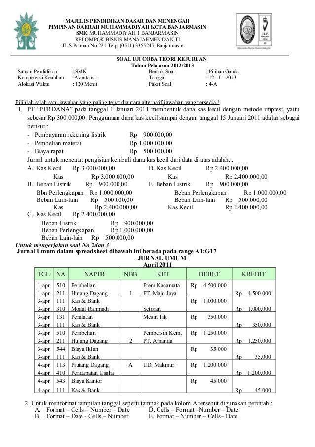 Soal Tryout Akuntansi Smk Th 2012 2013 Paket 4