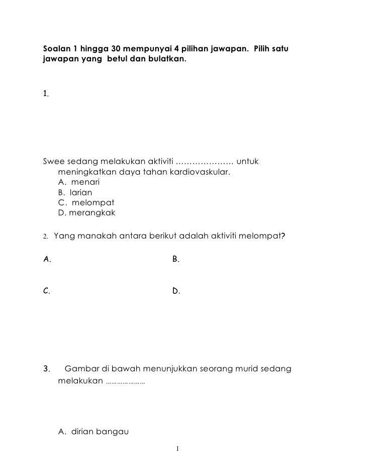 Soalan 1 hingga 30 mempunyai 4 pilihan jawapan. Pilih satujawapan yang betul dan bulatkan.1.Swee sedang melakukan aktiviti...