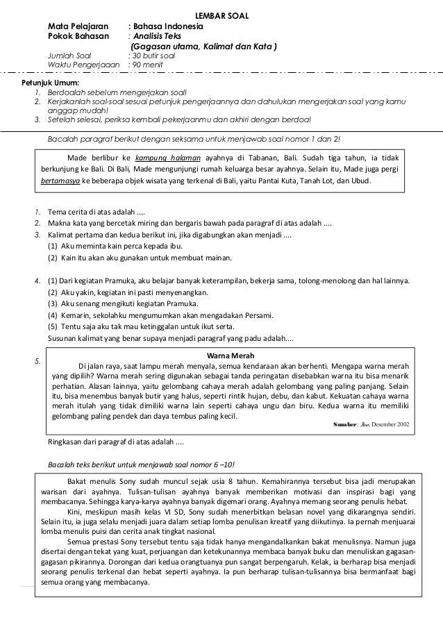 LEMBAR SOAL        Mata Pelajaran           : Bahasa Indonesia        Pokok Bahasan            : Analisis Teks            ...