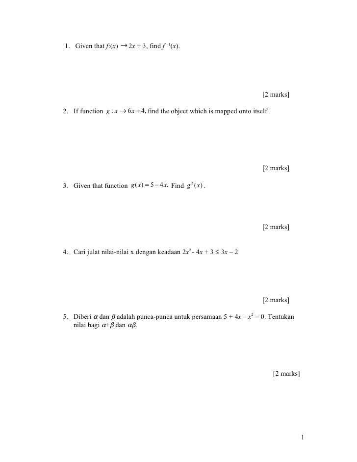 1. Given that f:(x) → 2x + 3, find f –1(x).                                                                              [...