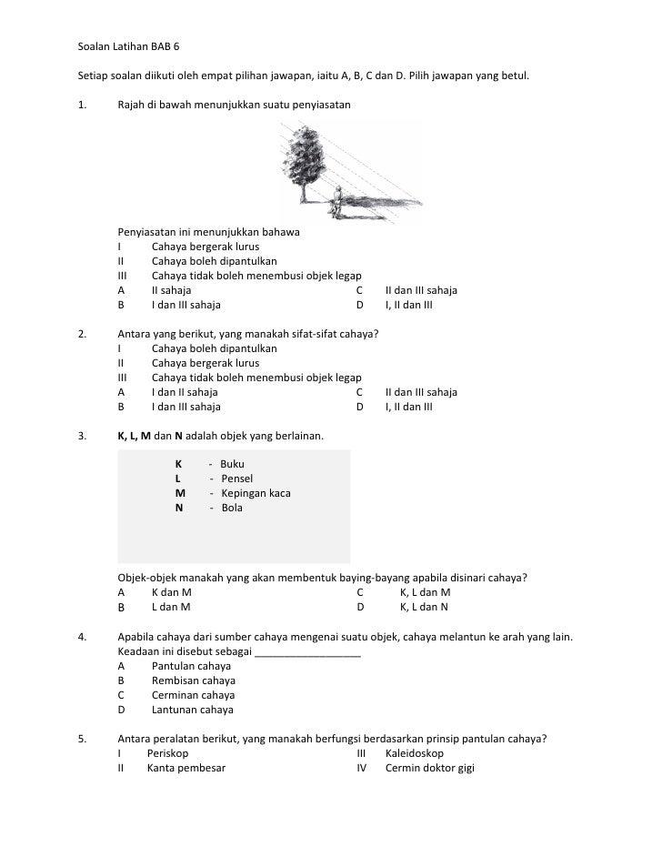 Soalan Latihan Unit 6 Cahaya
