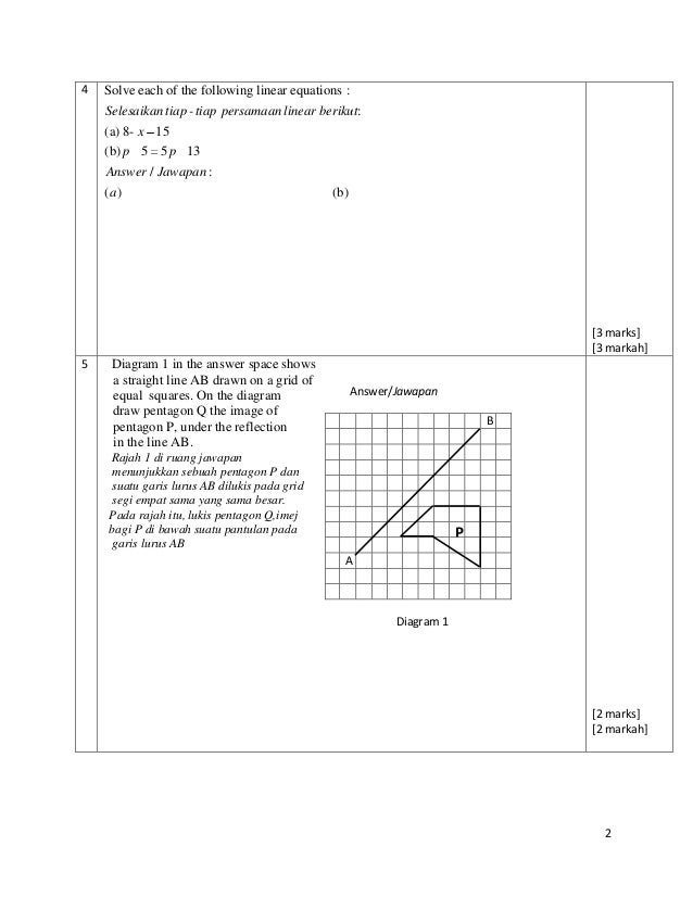 By Drawing The Line Y On The Grid Solve The Equations : Soalan matematik tingkatan kertas