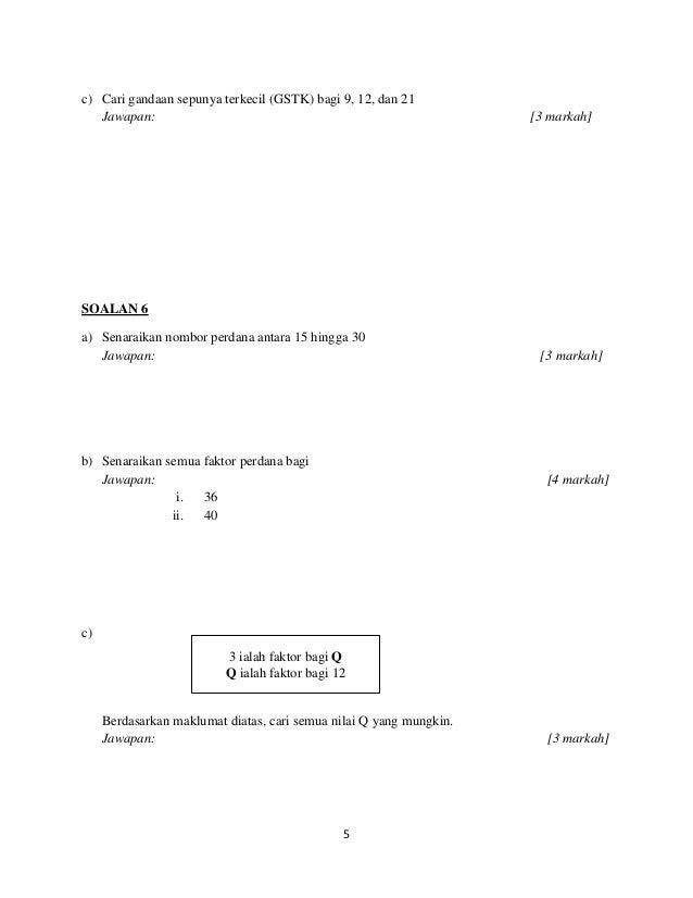 Soalan Peperiksaan Matematik Tingkatan 1 Akhir Tahun Rasmi Sue
