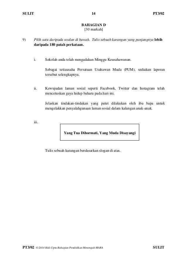 Contoh Soalan Percubaan Pt3 Bahasa Arab Soalan Bi