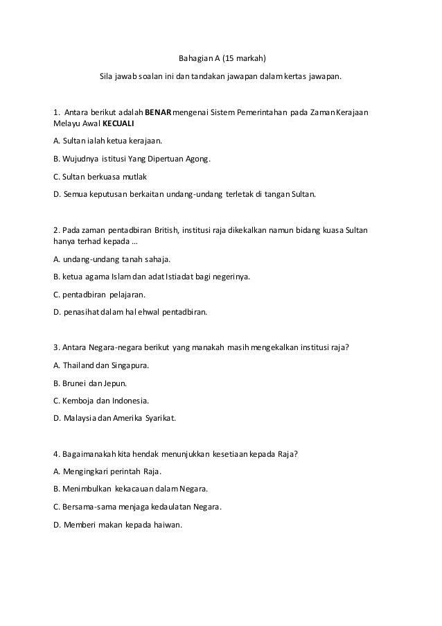 Bahagian A (15 markah) Sila jawab soalan ini dan tandakan jawapan dalam kertas jawapan. 1. Antara berikut adalah BENAR men...