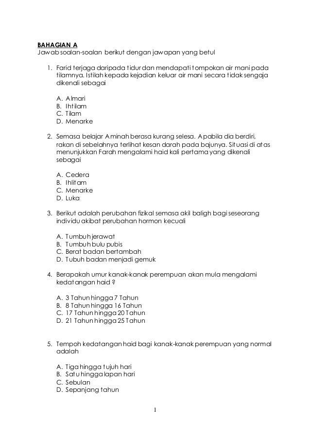 Soalan Ujian Pk Tahun 5