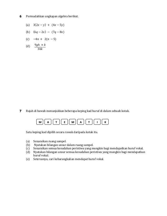 Soalan Ulangkaji Matematik untuk Teknologi Semester 3