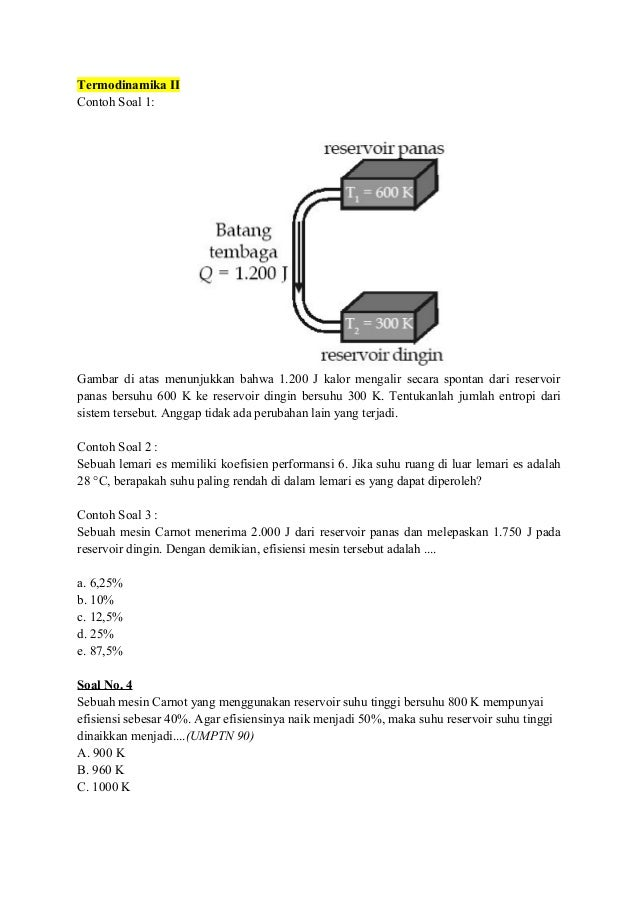 Soal termodinamika serta pembahsan termodinamika ccuart Choice Image