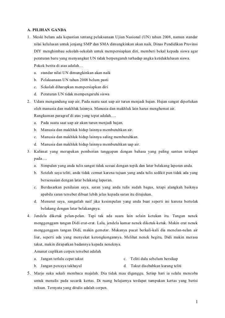 Soal Bahasa Indonesia Kelas Ix