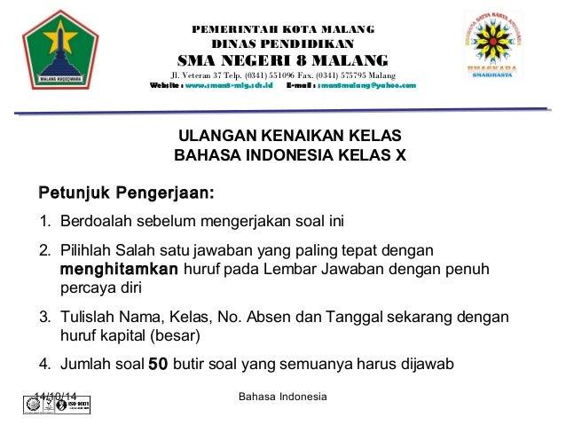 Soal Uts Bahasa Indonesia Kelas 10 Semester 1 Kurikulum 2013 Ilmusosial Id
