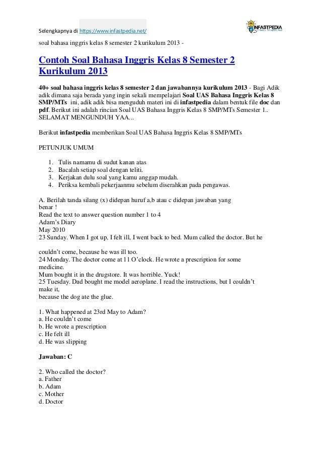 Soal Bahasa Inggris Kelas 8 Semester 2 Kurikulum 2013