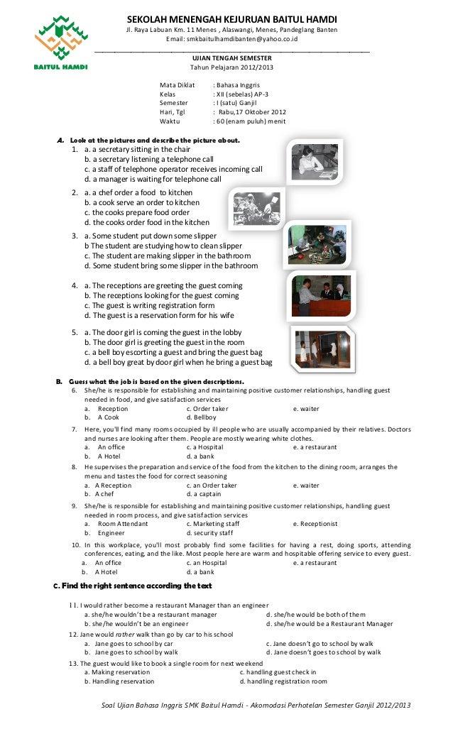 Soal bahasa inggris uts smk baitul hamdi ap3 ganjil 2012