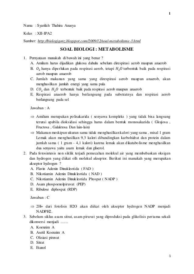 Soal Dan Pembahasan Metabolisme Kelas 12